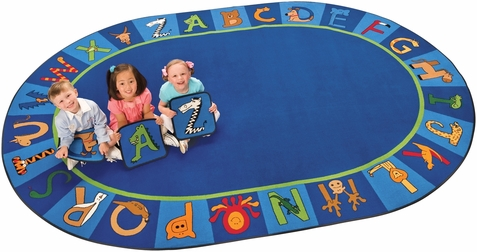 A to Z Animals Oval Classroom Rug 6'9 x 9'5