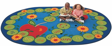 ABC Caterpillar Factory Seconds Classroom Rug 6'9 x 9'5 Oval