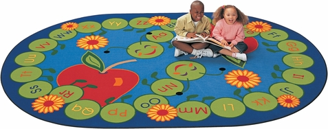 ABC Caterpillar Oval Classroom Rug 6'9 x 9'5
