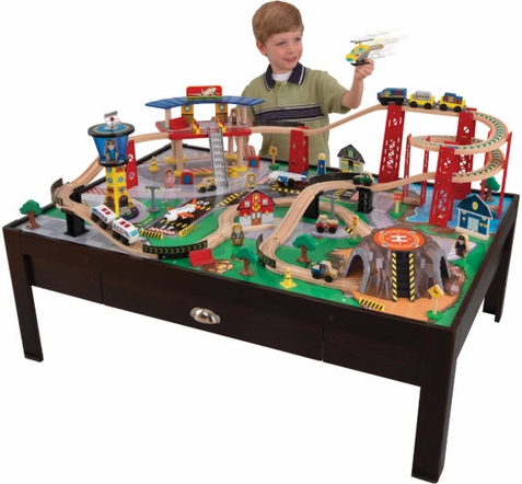 KidKraft Airport Express Espresso Train Table & Set