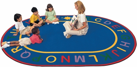 Alpha Classroom Learning Rug 6'9 x 9'5 Oval
