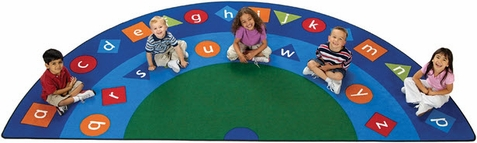 Alpha Shapes Semi Circle Classroom Seating Rug - Free Shipping