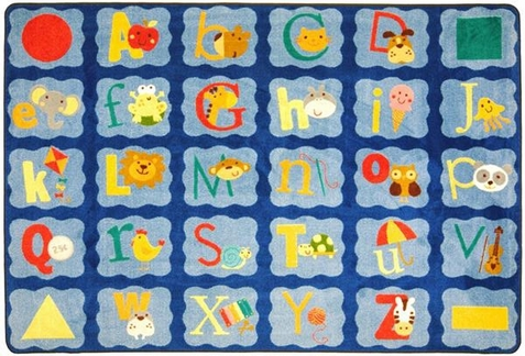 Alphabet Blues Classroom Rug 7'8 x 10'9 Rectangle