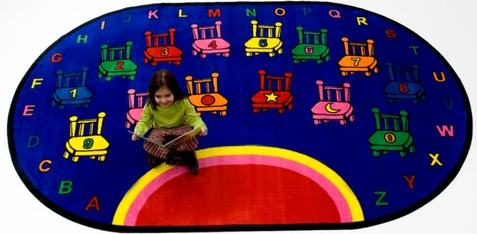 Alphabet Chairs Oval Classroom Carpet 8' x 10'