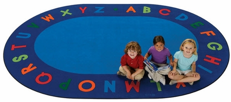 Alphabet Circletime Oval Classroom Rug Factory Second 6'9 x 9'5 Oval