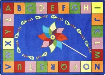 Alphabet Pinwheel Classroom Carpet 5'4 x 7'8 Rectangle