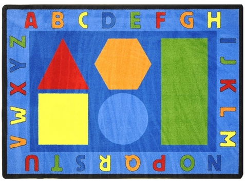 Alphabet Shapes Classroom Rug 5'4 x 7'8 Rectangle