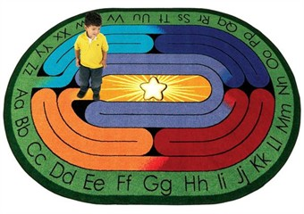 Amazing ABC's Classroom Labyrinth Oval Rug 7'8 x 10'9