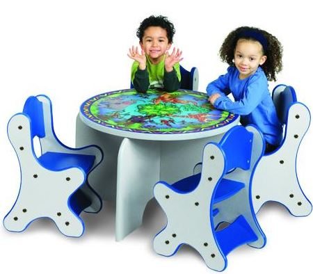 Animal Families Table & 4 Blue Chairs Set