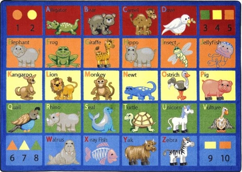 Animal Phonics Educational Rug 10'9 x 13'2 Rectangle