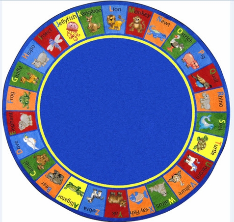 Animal Phonics Educational Rug 7'7 Round