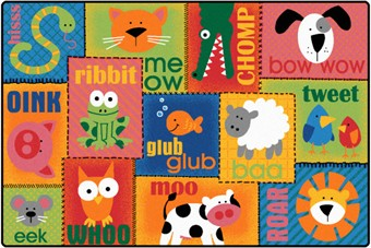 Animal Sounds Preschool Rug 4' x 6'