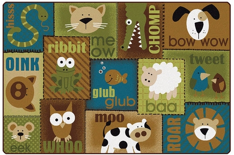 Animal Sounds Toddler Rug Nature 4' x 6' Rectangle