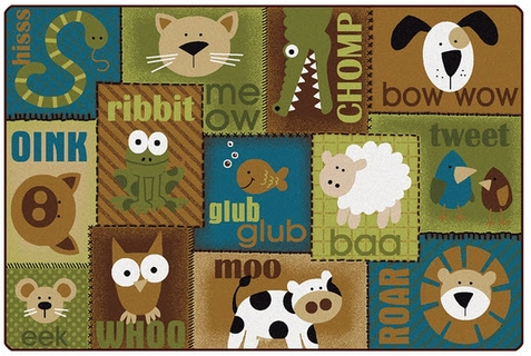 Animal Sounds Toddler Rug Nature 6' x 9' Rectangle