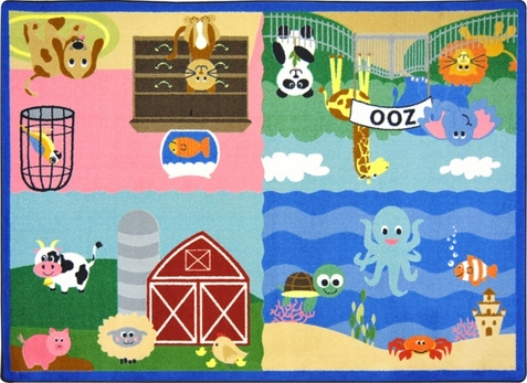 Animals All Around Childrens Area Rug 3'10 x 5'4 Rectangle