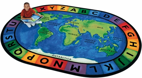 Around the World Oval Classroom Rug 6'9 x 9'5