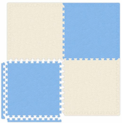 Baby Blue & Ivory Interlocking Soft Touch Floor Mat