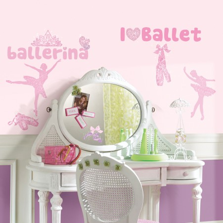 Ballet Peel & Stick Wall Decals w/Glitter
