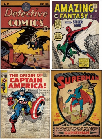 Super Hero Comic Book Cover Peel & Stick Decals - Free Shipping