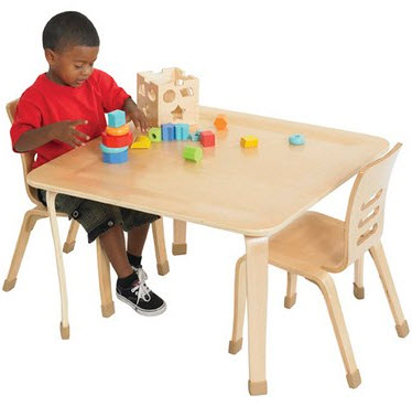 "ECR4Kids Bentwood 30"" Square Classroom Play Table"