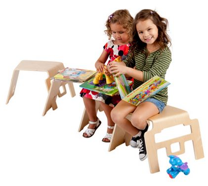 ECR4Kids Bentwood Linking Stools - Set of 4