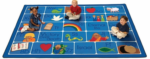 Bible ABC's Sunday School Rug 5'5 x 7'8 Rectangle