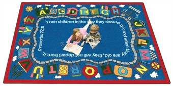 Bible Alphabet Train Rug 10'9 x 13'2 Rectangle