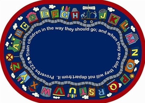 Bible Alphabet Train Rug 7'8 x 10'9 Oval