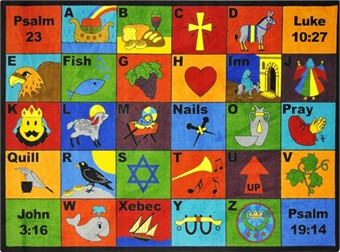 Bible Phonics Faith Based School Rug 3'10 x 5'4 Rectangle