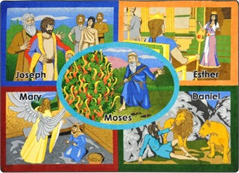 Bible Stories Sunday School Rug 5'4 x 7'8 Rectangle