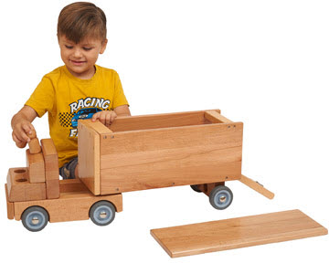 ECR4Kids Big Rig Wood Transportation Vehicle Toys