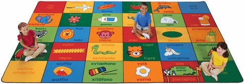Bilingual Alphabet Blocks Rug Factory Second 7'6 x 12' Rectangle
