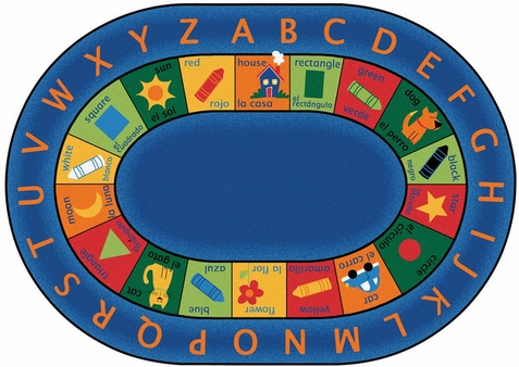 Bilingual Circletime Factory Second Oval Rug 6'9 x 9'5