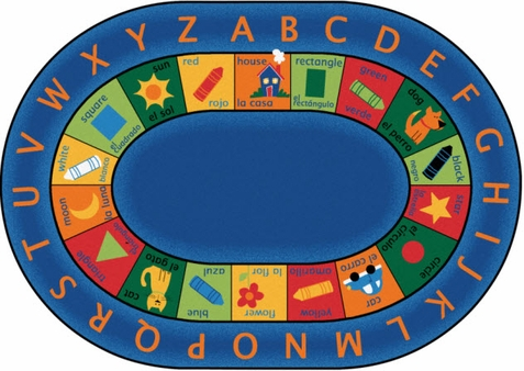 Bilingual Circletime Preschool Rug 6'9 x 9'5 Oval