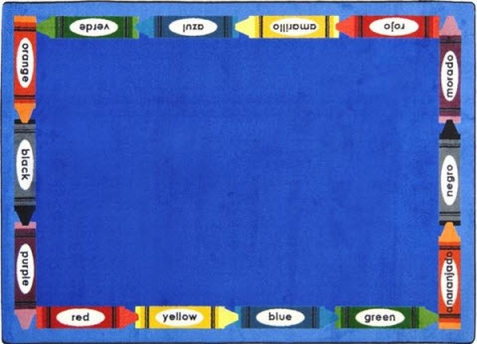 Bilingual Colors Childrens Rug 10'9 x 13'2 Rectangle