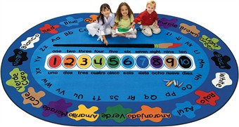 Bilingual Paint by Numeros Oval Classroom Rug 5'5 x 7'8