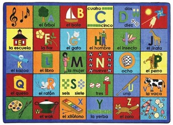 Bilingual Phonics Learning Rug 7'8 x 10'9