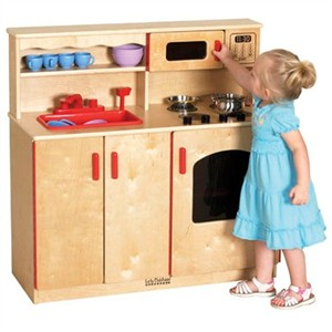 ECR4Kids Birch 4-in-1 Play Kitchen Center