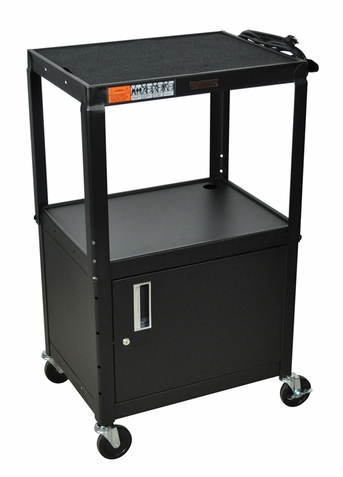 Black Adjustable Utility Cart with Cabinet