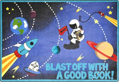 Blast Off With A Good Book Area Rug 10'9 x 13'2 Rectangle