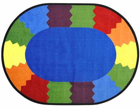 Block Party Classroom Area Rug 7'8 x 10'9 Oval