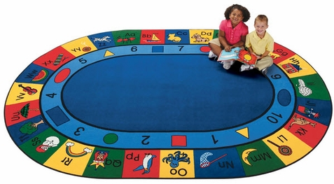 Blocks of Fun Classroom Factory Second Rug 8'3 x 11'8 Oval