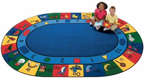 Blocks of Fun Classroom Rug 6'9 x 9'5 Oval