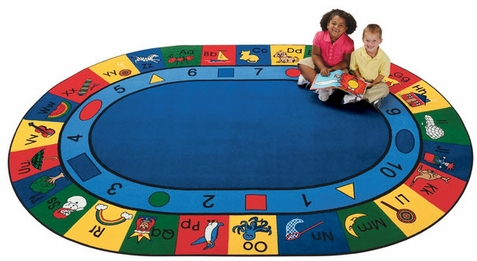 Blocks of Fun Oval Seating Rug Factory Second 6'9 x 9'5