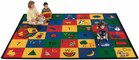 Blocks of Fun Rectangle Classroom Rug 4'5 x 5'10