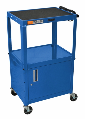 Blue Adjustable Utility Cart with Cabinet