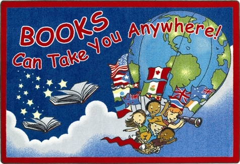 Books Will Take You Anywhere Library Rug 10'9 x 13'2 Rectangle