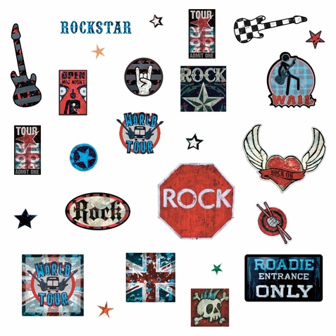 Boys Rock n Roll Peel & Stick Wall Decals