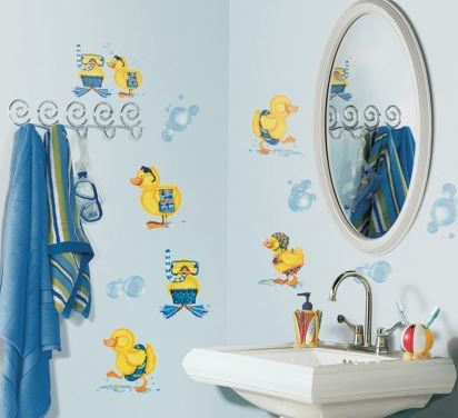 Bubble Bath Duck Peel & Stick Wallpaper Appliques - Free Shipping