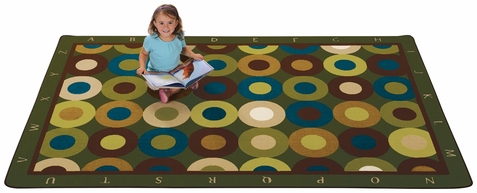 Calming Circles Alphabet Factory Second Classroom Rug 4' x 6'